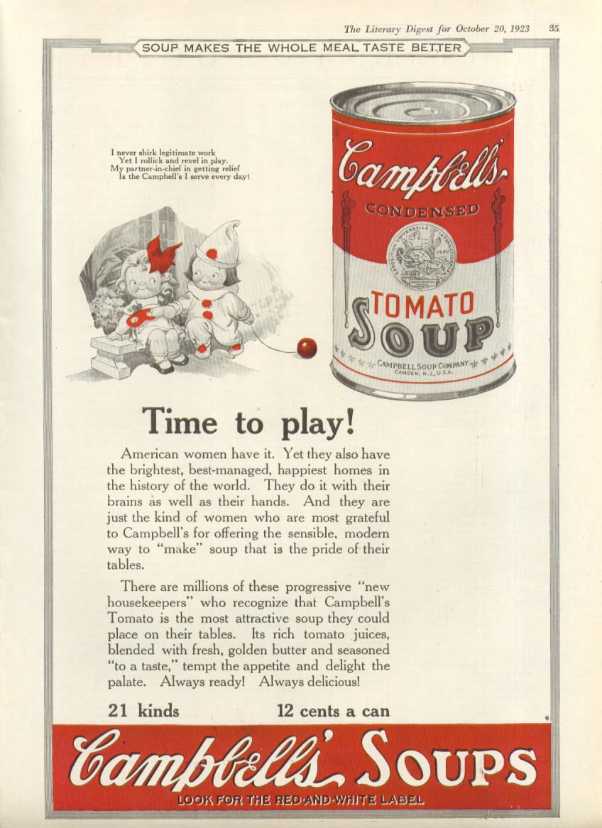 Image for Rollick Revel Play Time Campbell's Tomato Soup ad 1923