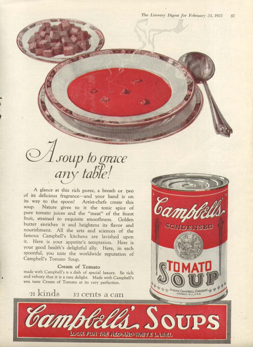 Image for Grace Any Table Campbell's Tomato Soup ad 1923