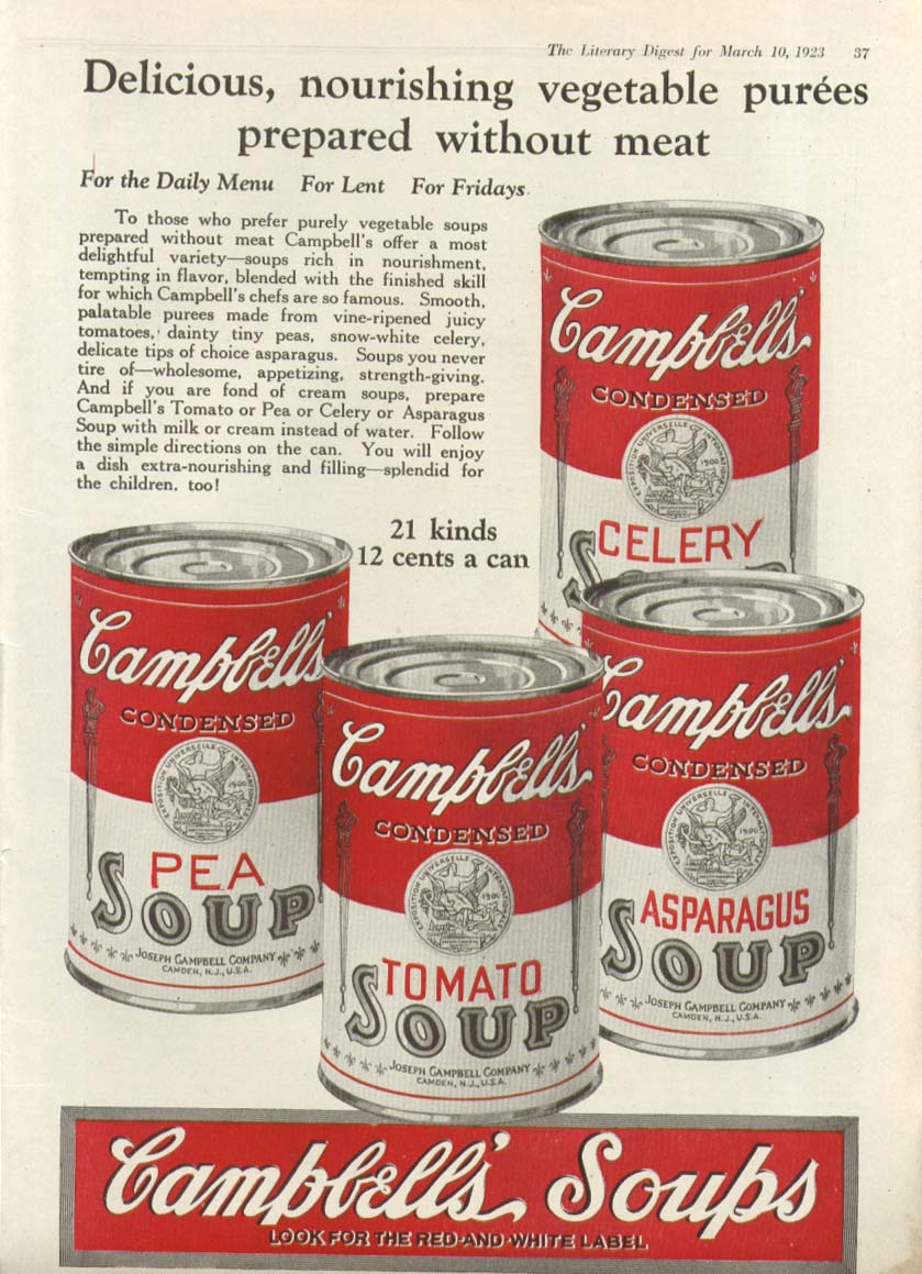 Celery Pea Tomato Asparagus Campbell's Soups ad 1923