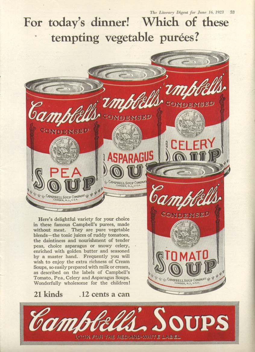 Image for Today Dinner Tempting Campbell's Vegetable Soup ad 1923