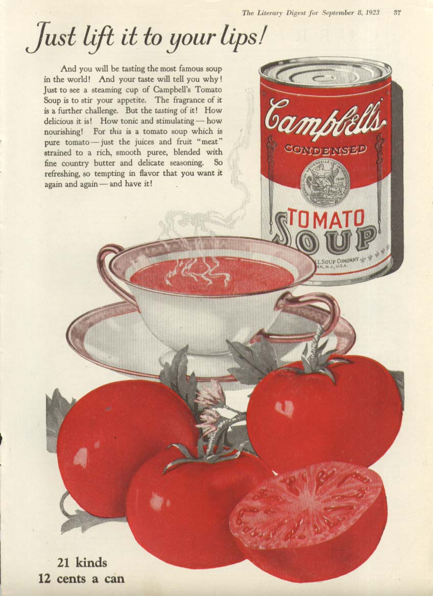 Image for Lift to Your Lips Campbell's Tomato Soup ad 1923