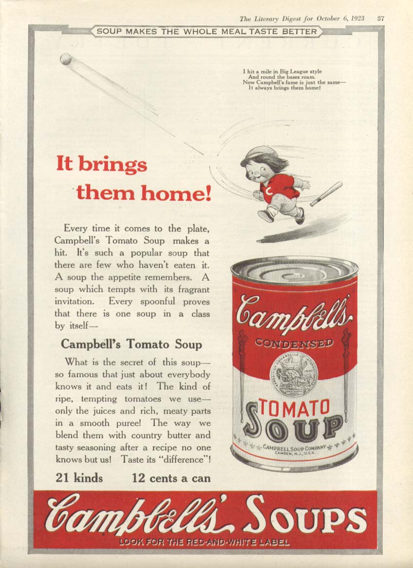 Brings Home Campbell's Tomato Soup Baseball ad 1923