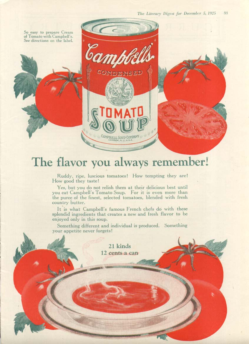 Image for Flavor You Remember Campbell's Tomato Soup ad 1925