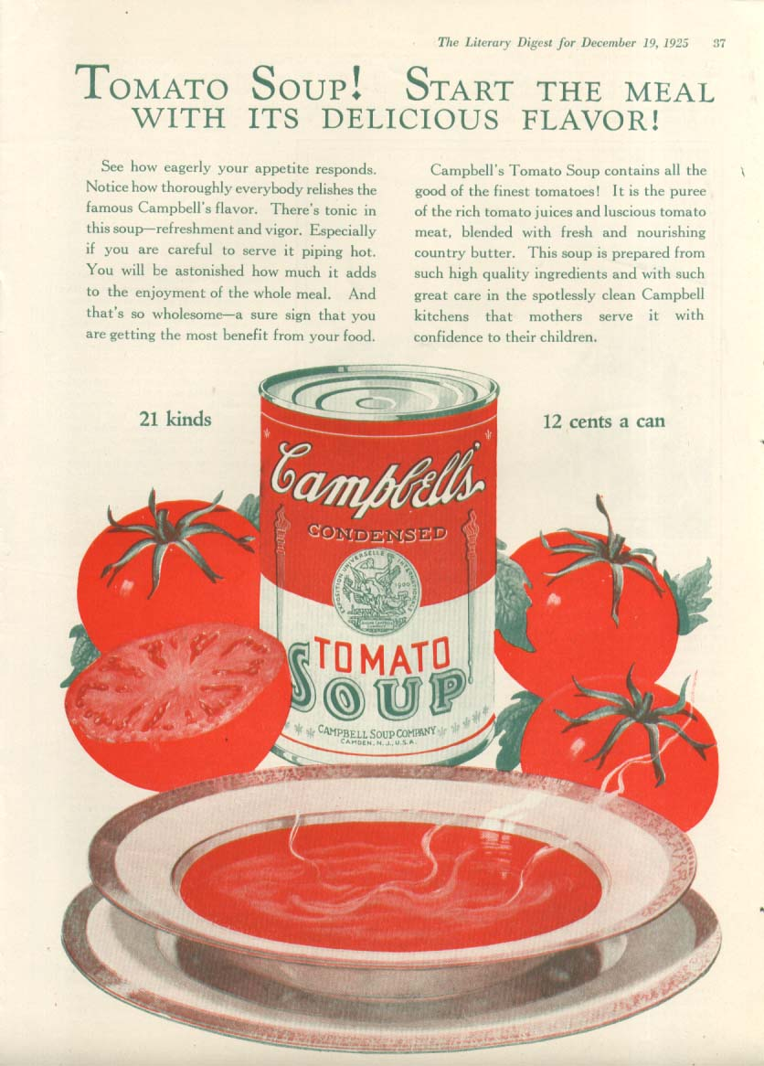 Delicious Flavor! Campbell's Tomato Soup ad 1925