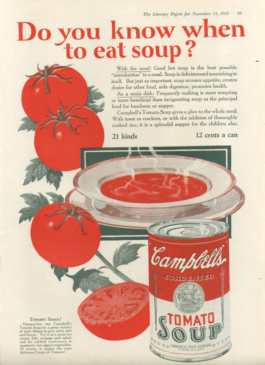 Image for Know When to Eat Campbell's Tomato Soup ad 1925