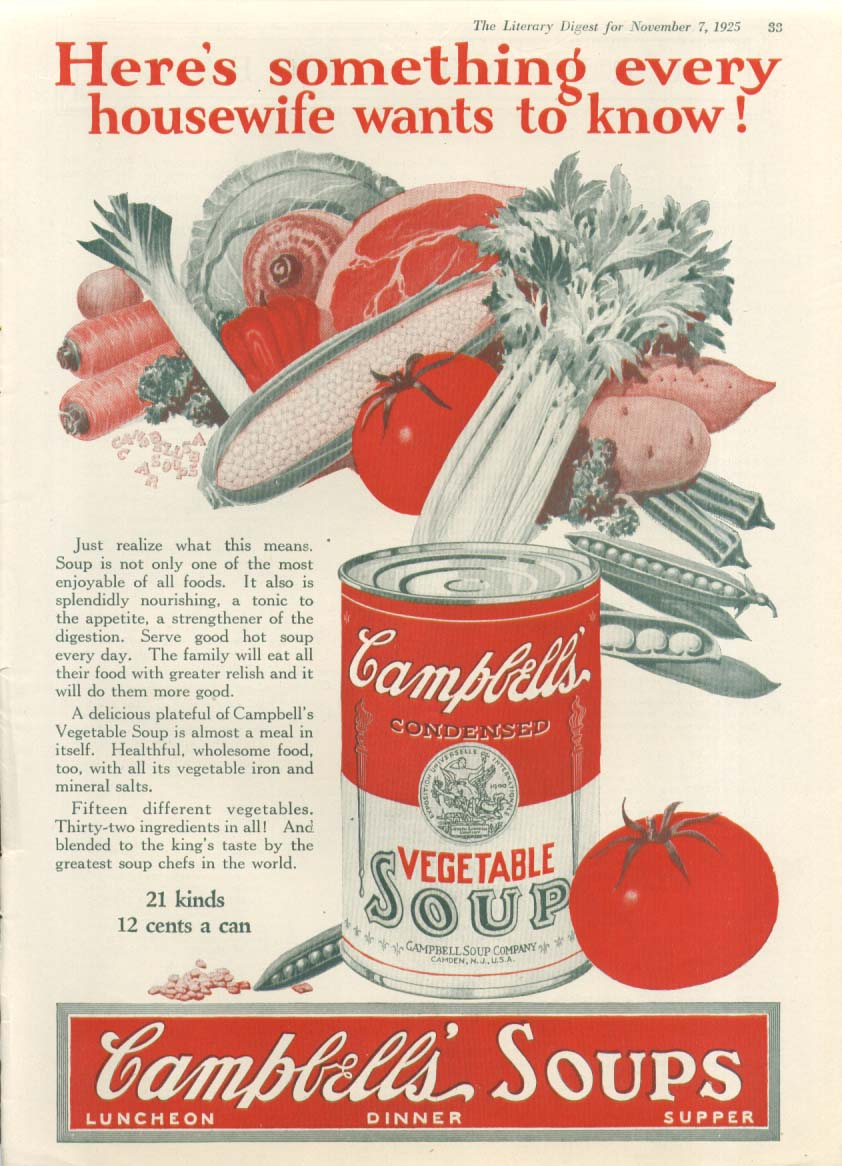 Image for Every Housewife Wants Campbell's Vegetable Soup ad 1925