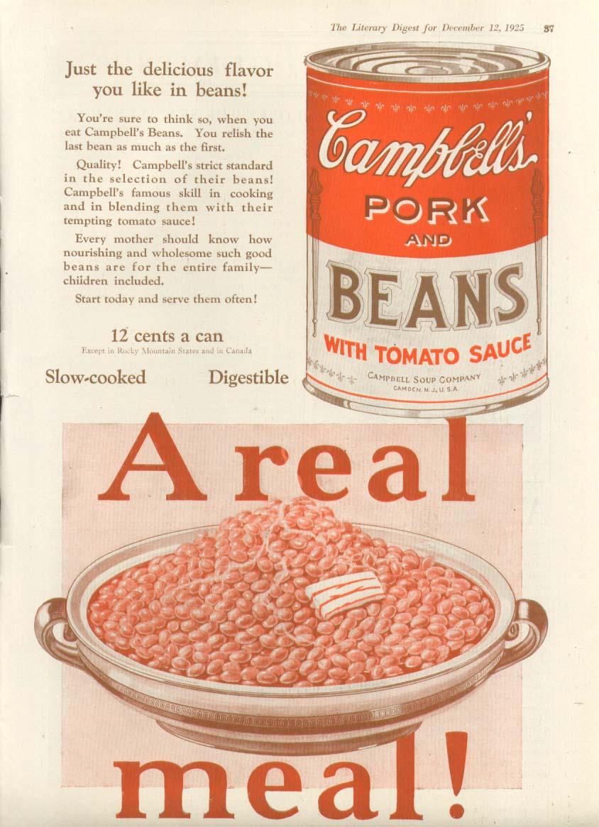 A Real Meal! Campbell's Pork & Beans Soup ad 1925