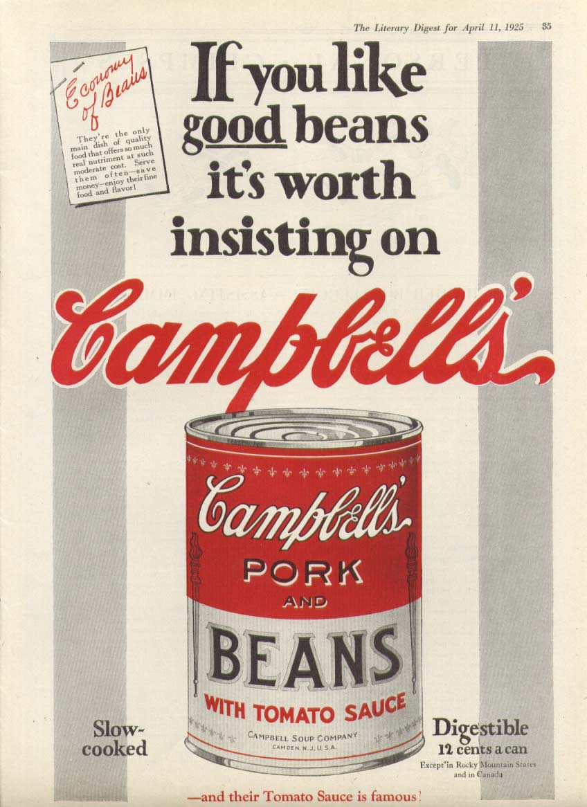 Image for Insisting on Good Campbell's Pork & Beans Soup ad 1925