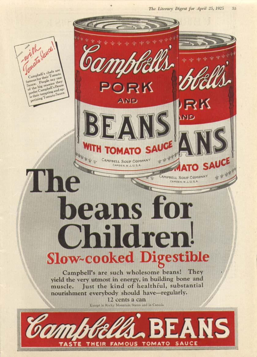 Image for For Children! Campbell's Pork & Beans Soup ad 1925