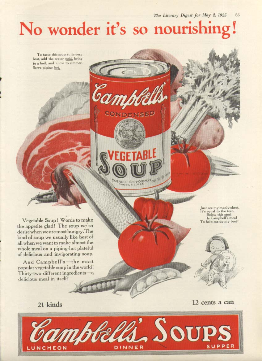 Image for No Wonder Nourishing! Campbell's Vegetable Soup ad 1925