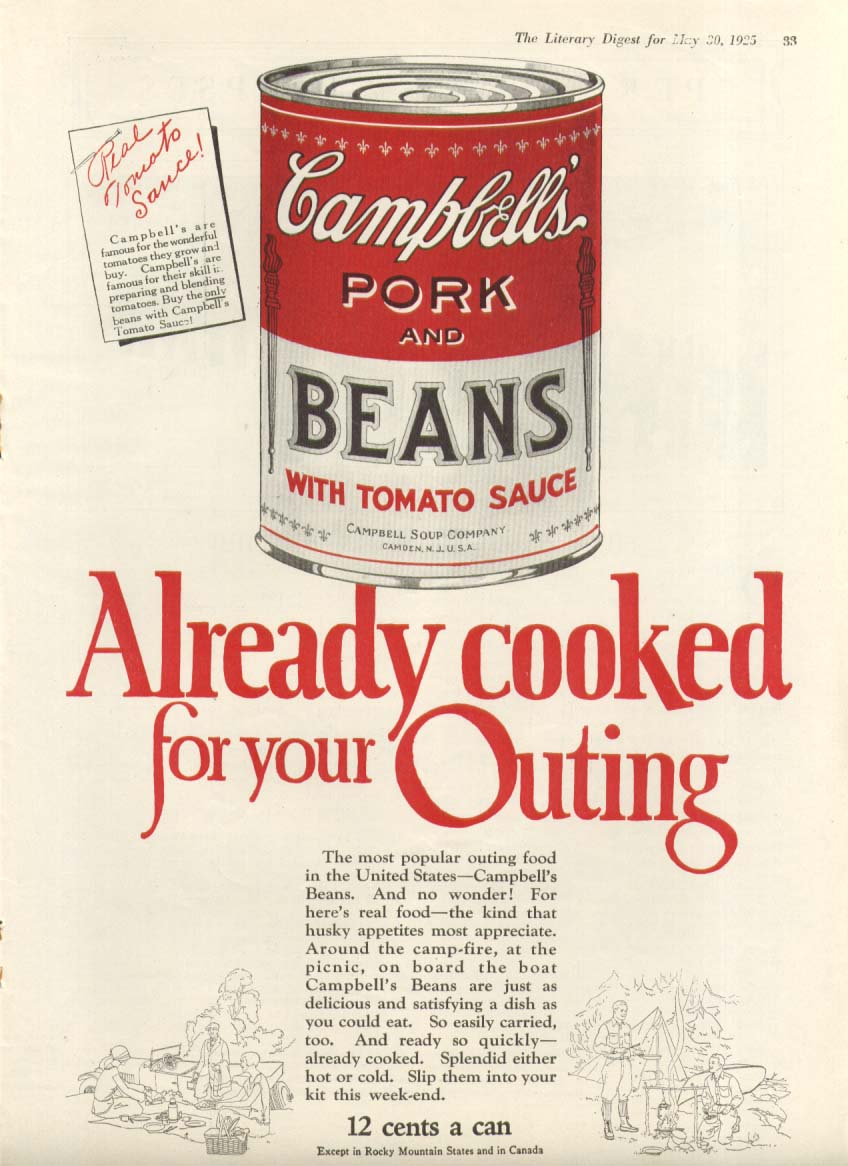 Already Cooked Campbell's Pork & Beans Soup ad 1925