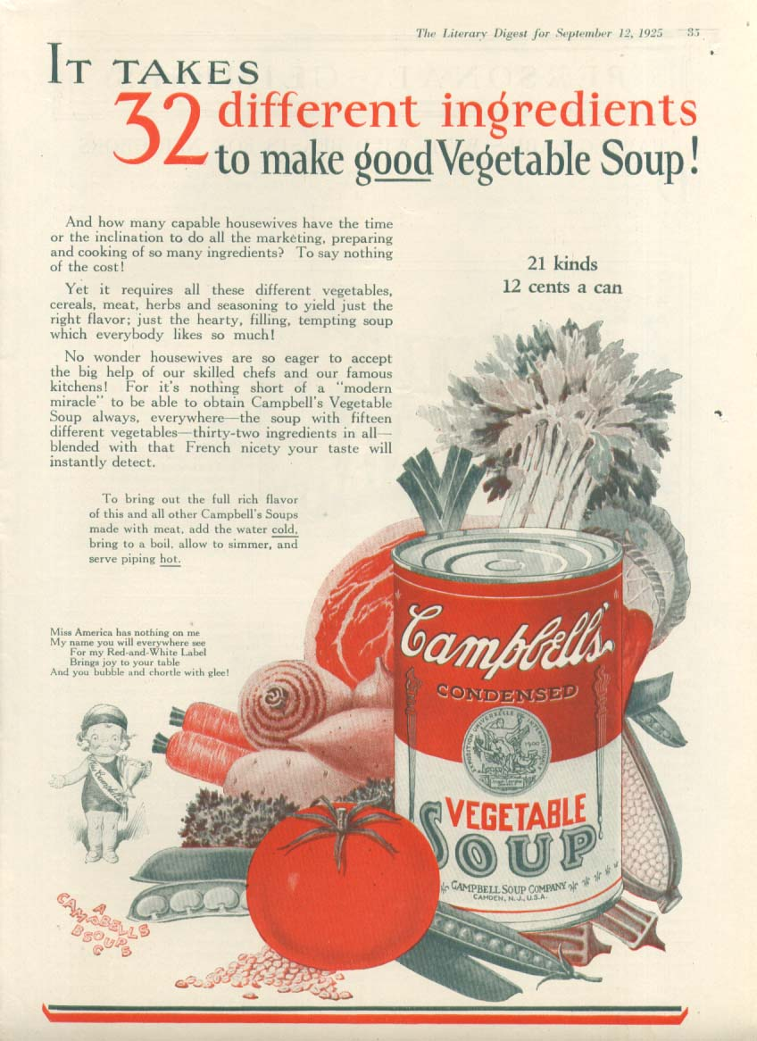 32 Ingredients Good Campbell's Vegetable Soup ad 1925