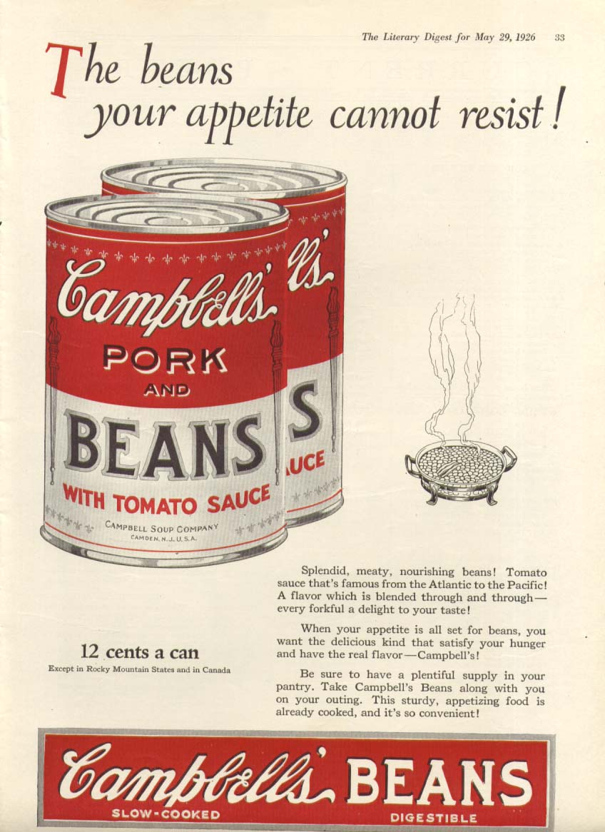 Cannot Resist Campbell's Pork & Beans Soup ad 1926
