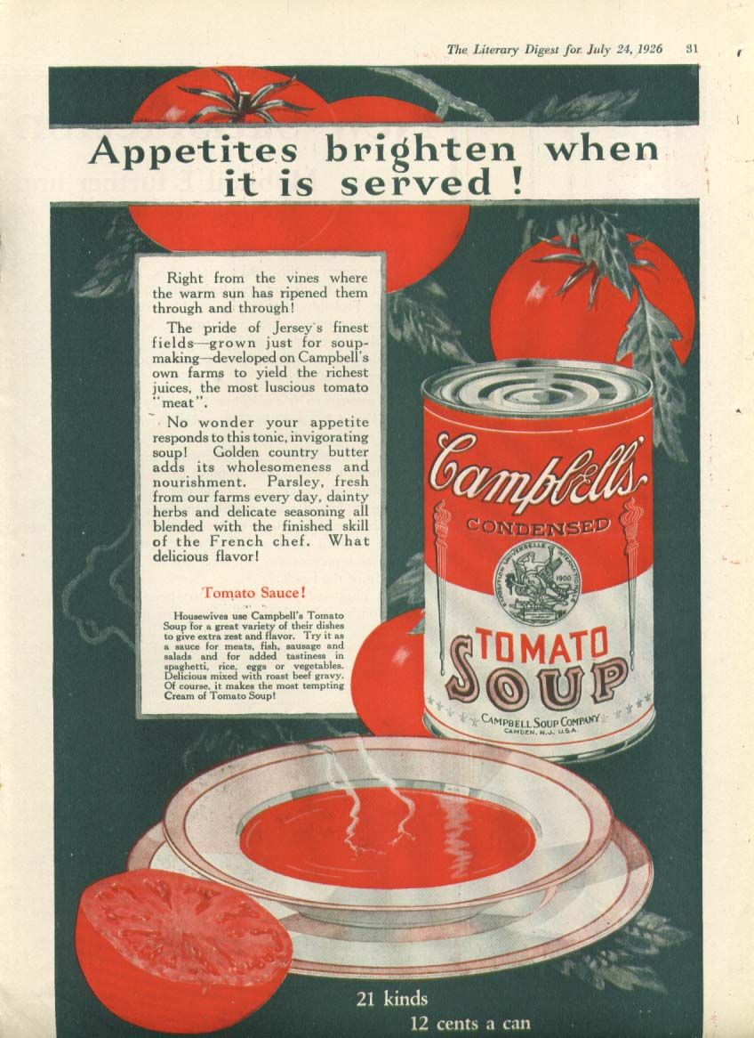 Appetites Brighten Campbell's Tomato Soup ad 1926