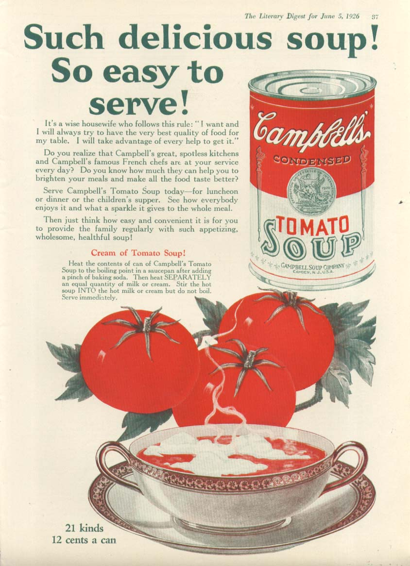 Delicious Easy to Serve Campbell's Tomato Soup ad 1926