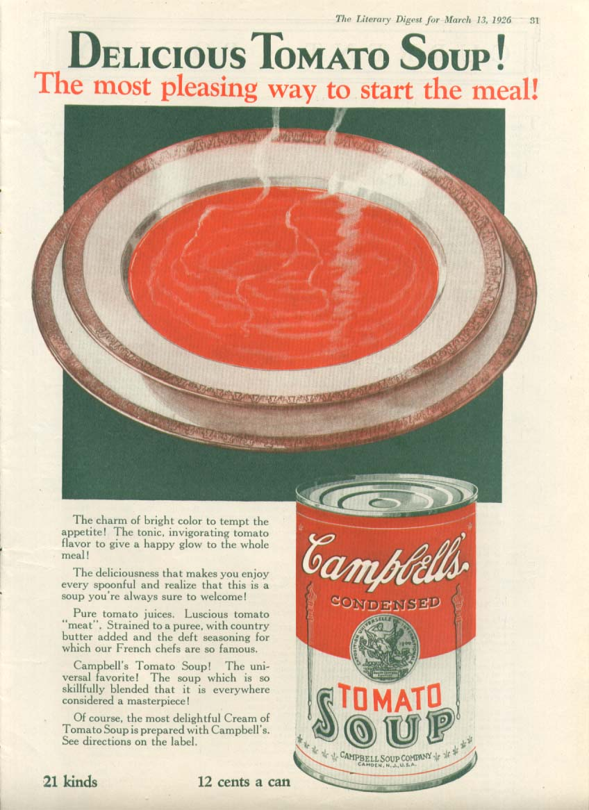 Delicious Pleasing Campbell's Tomato Soup ad 1926