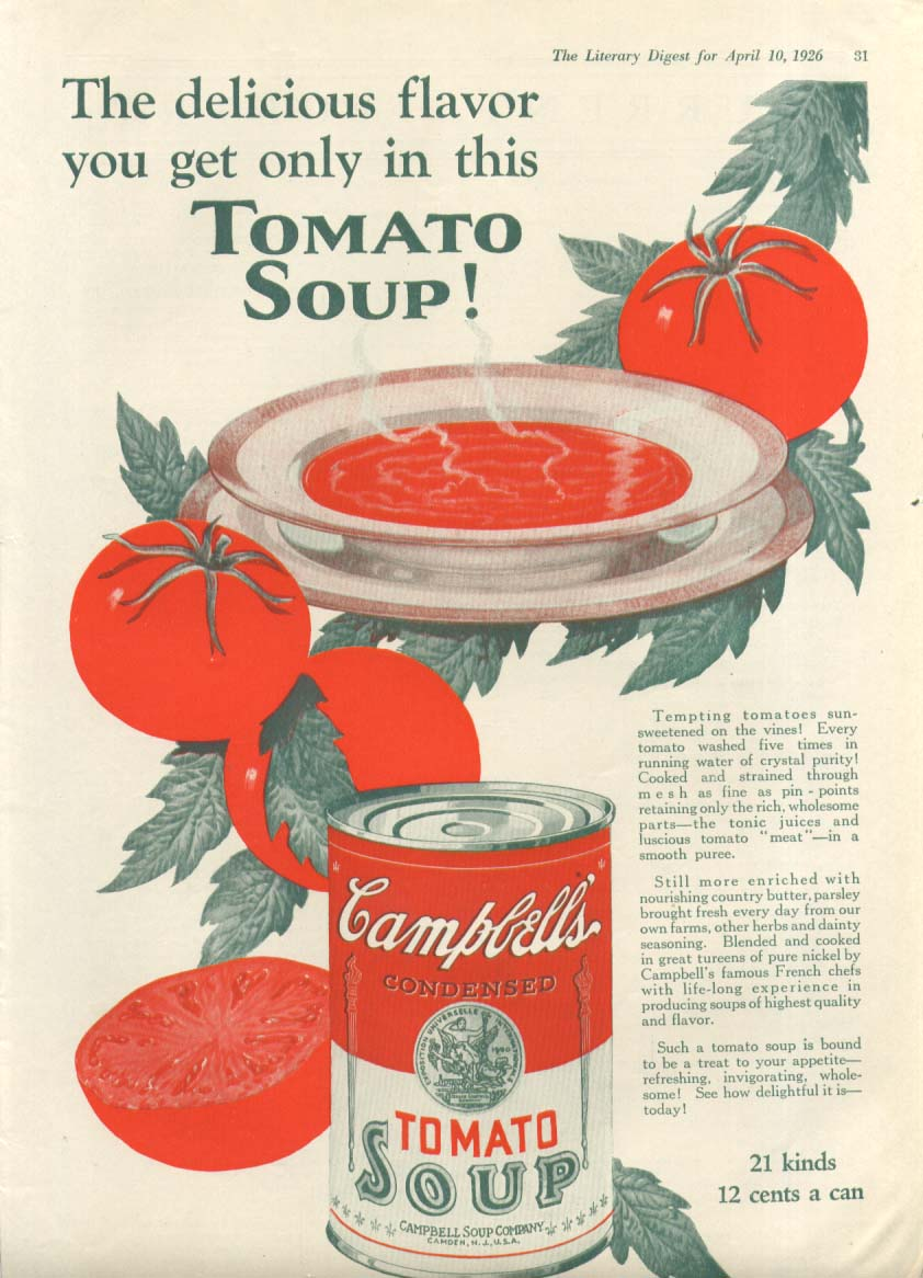 Delicious Flavor Only in Campbell's Tomato Soup ad 1926