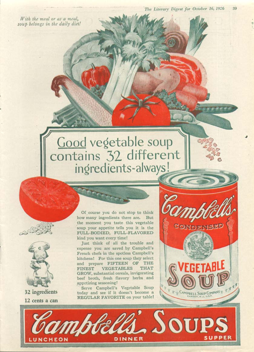 32 Good Ingredients Campbell's Vegetable Soup ad 1926