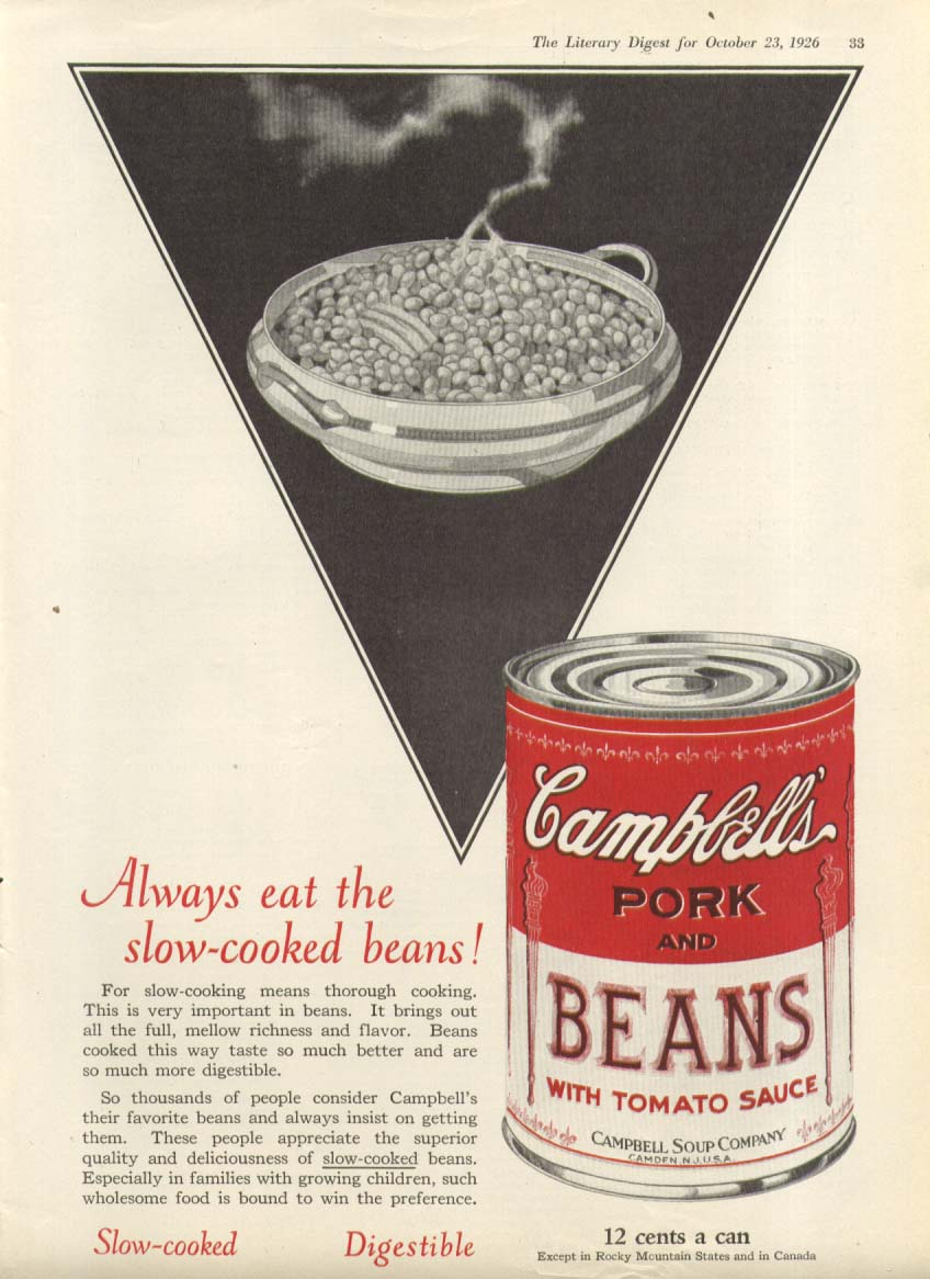 Always Eat Slow-Cooked Campbell Pork Beans Soup ad 1926