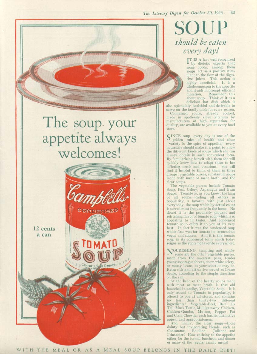 Appetite Always Welcomes Campbell's Tomato Soup ad 1926