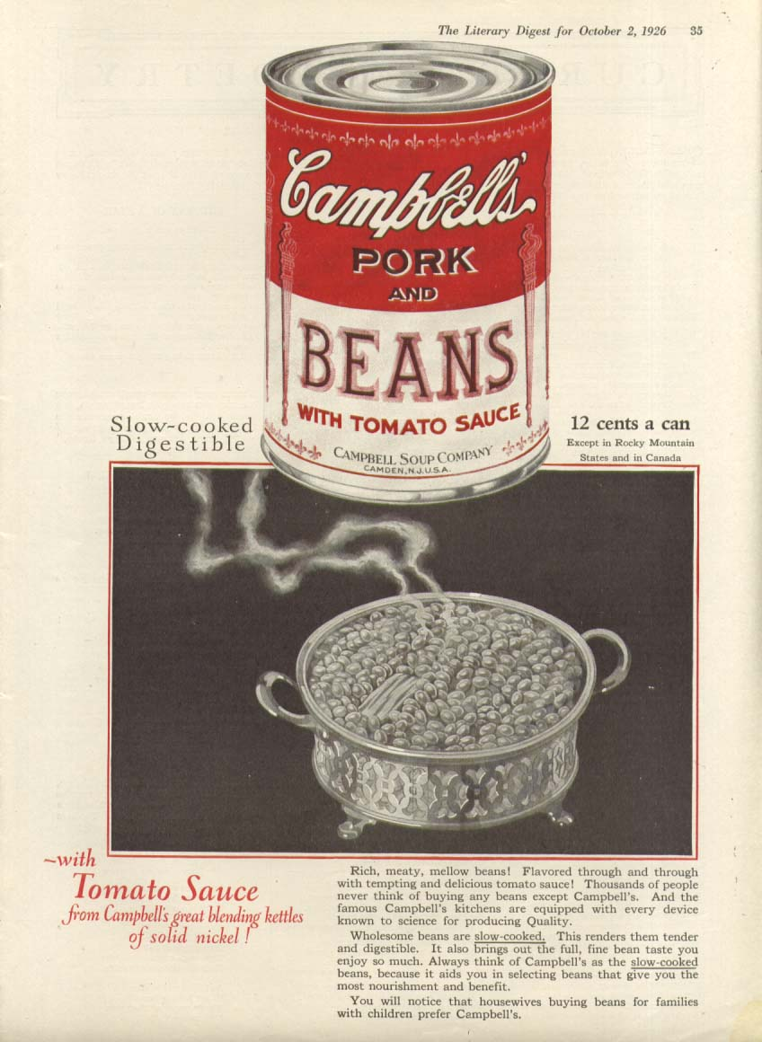 Campbell's Pork & Beans With Tomato Sauce Soup ad 1926