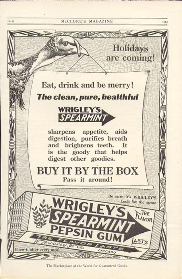 Holidays are coming Wrigley's Spearmint Gum ad 1913
