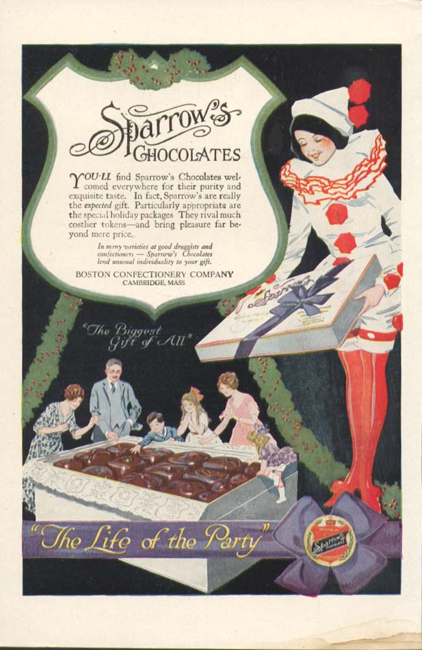 Image for Sparrow's Chocolates The Life of the Party ad 1930