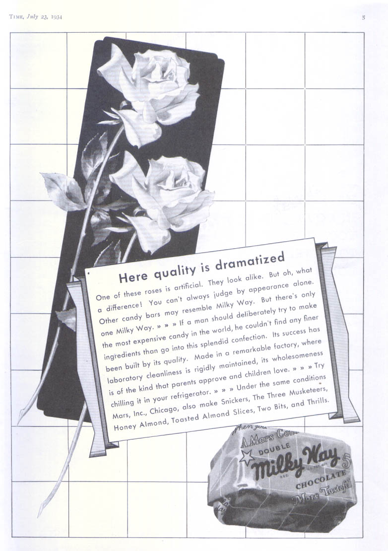 Image for Here quality is dramatized Milky Way candy bar ad 1934
