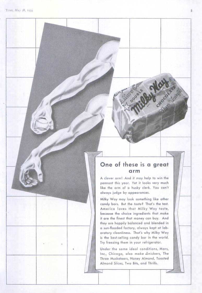 Image for One of these is a great arm Milky way candy bar ad 1934