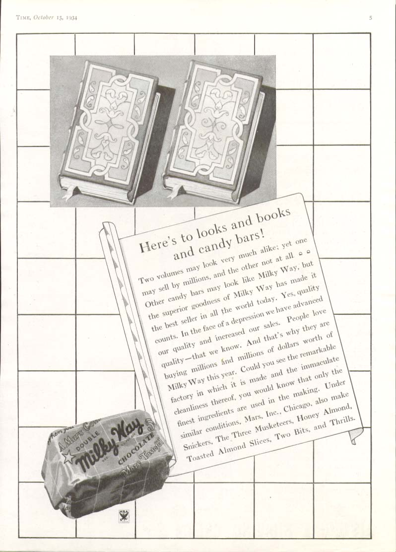 Here's to looks & books & Milky Way Candy Bar ad 1934