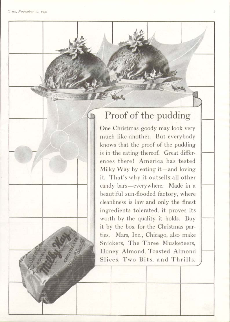 Image for Proof of the pudding Milky Way Candy Bar ad 1934