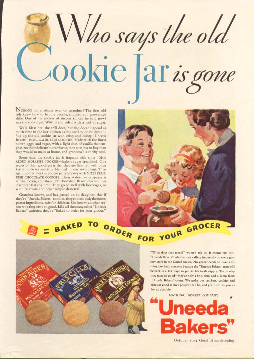 Image for Who says cookie jar is gone? Uneeda Nabisco ad 1934