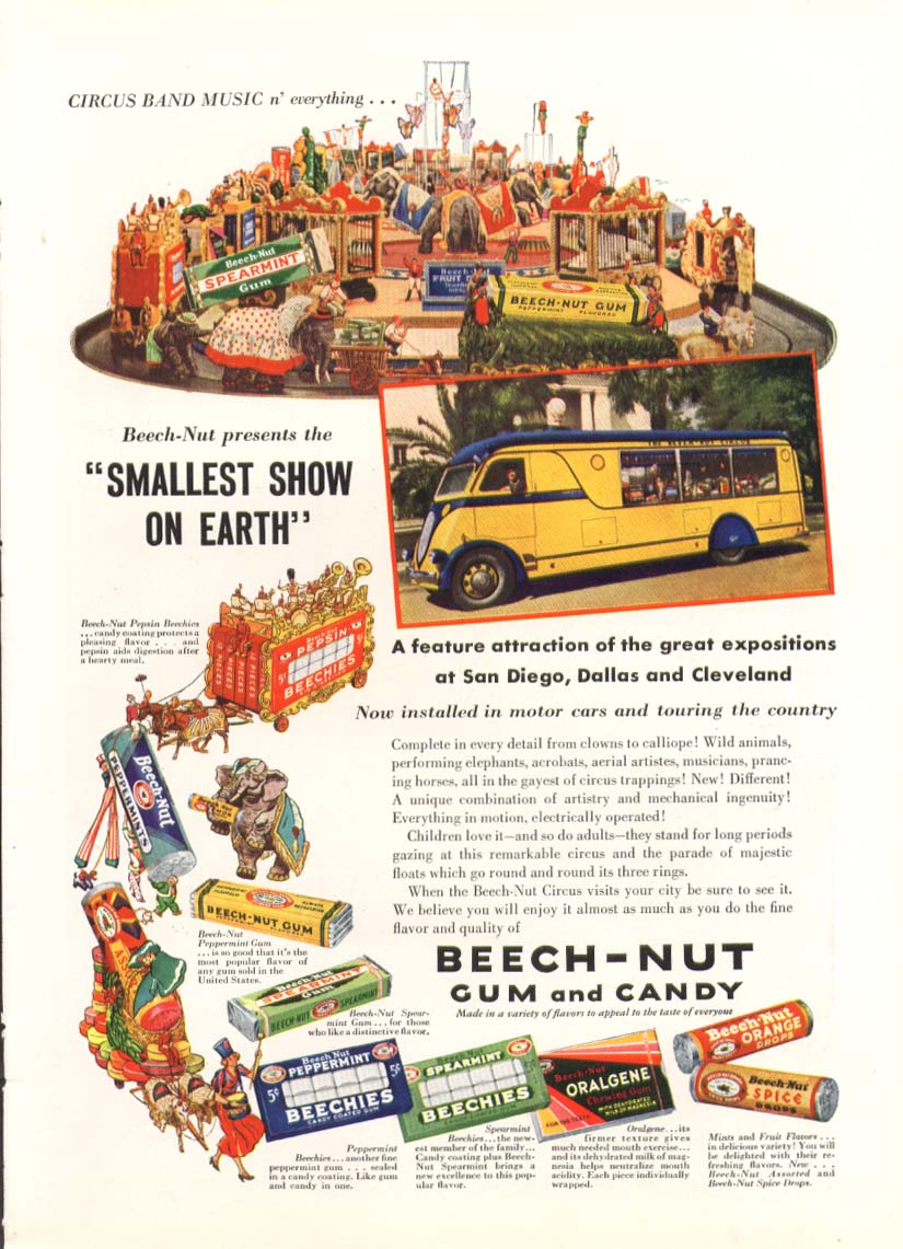 Beech-Nut Gum Smallest Show on Earth Circus ad 1936