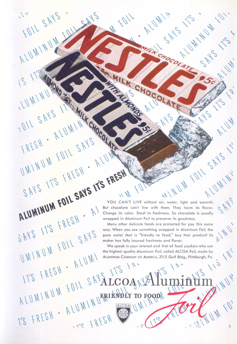 Aluminum foil says it's fresh Nestle's Candy ad 1938