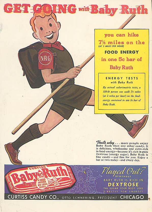 Get Going with Baby Ruth candy bar ad 1939