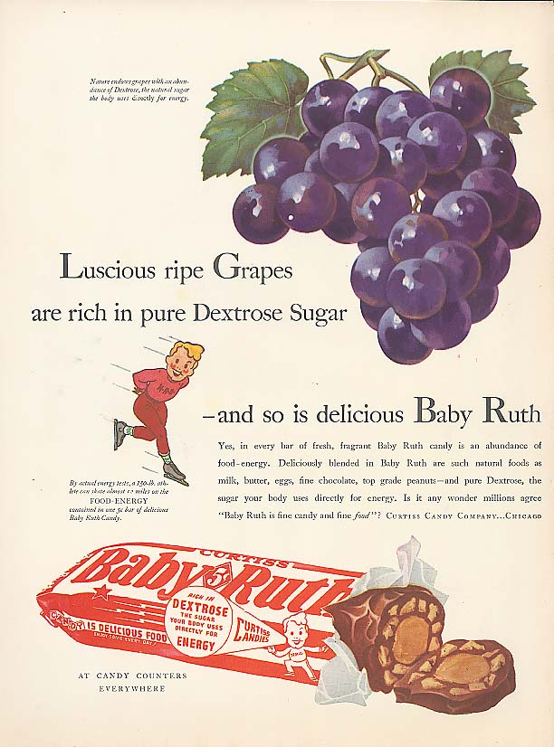 Image for Luscious Ripe Grapes Baby Ruth Candy Bar ad 1940