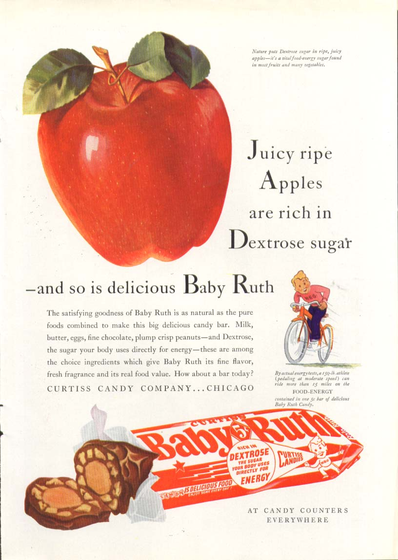 Image for Juicy ripe apples rich so is Baby Ruth Candy ad 1940
