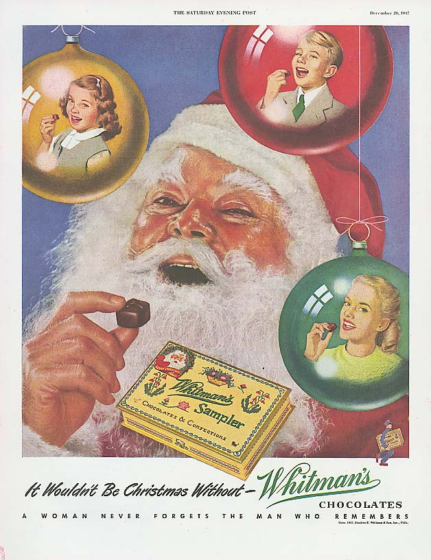 Image for Wouldn't Be Christmas Without Whitman's Sampler Santa Claus ad 1947