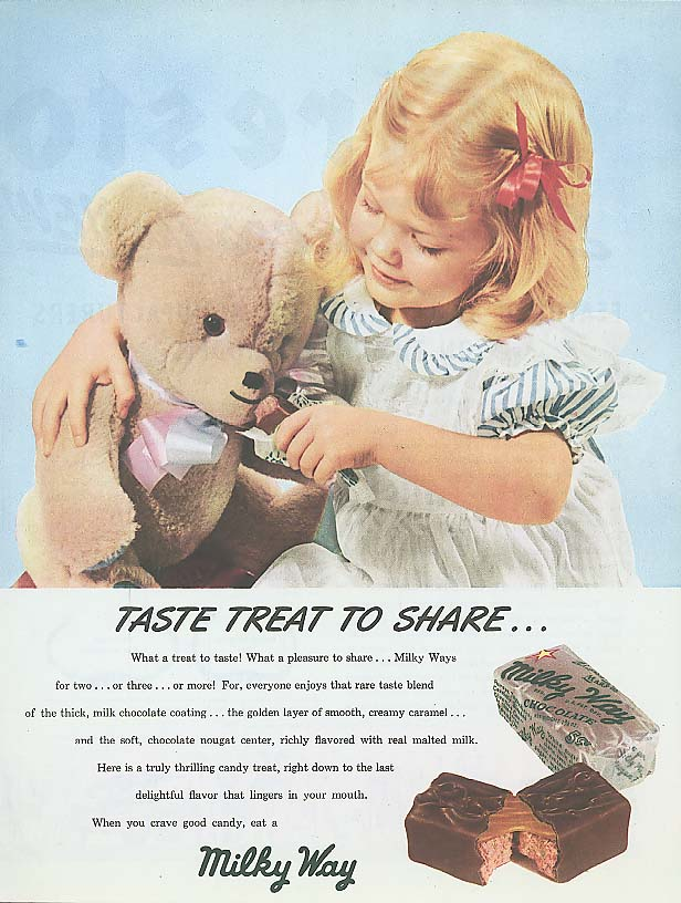 Image for Taste treat to share Milky Way candy bar ad 1948 teddy