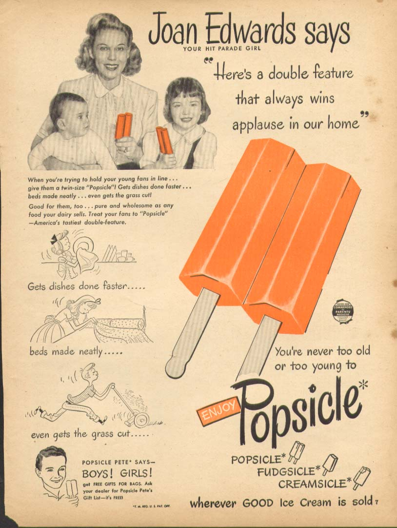 Hit Parade's Joan edwards for Popsicle ad 1948