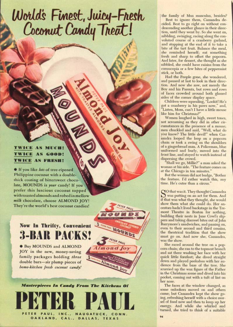 Image for Mounds & Almond Joy 3-Bar Packs ad 1951