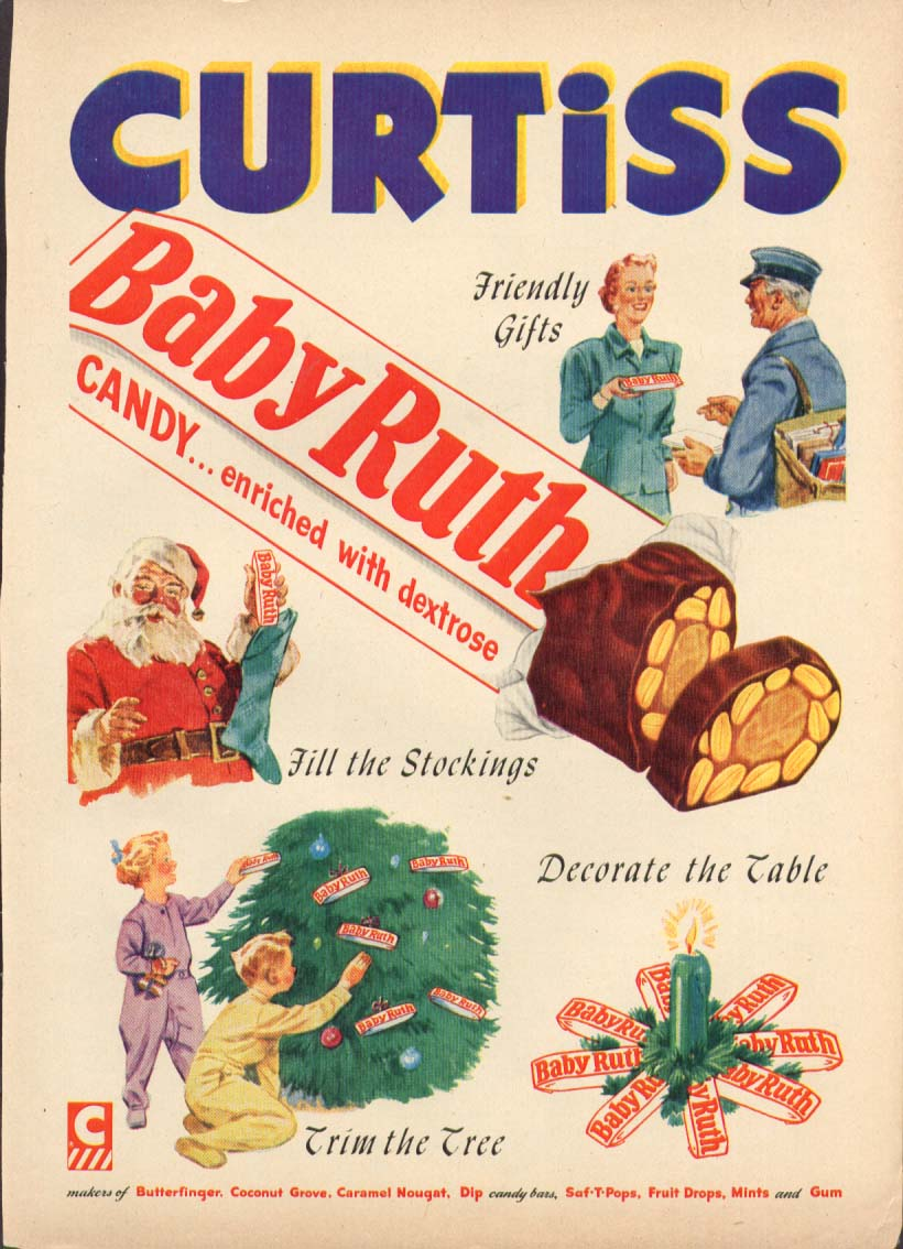 Curtiss Baby Ruth Candy for Christmas ad 1952