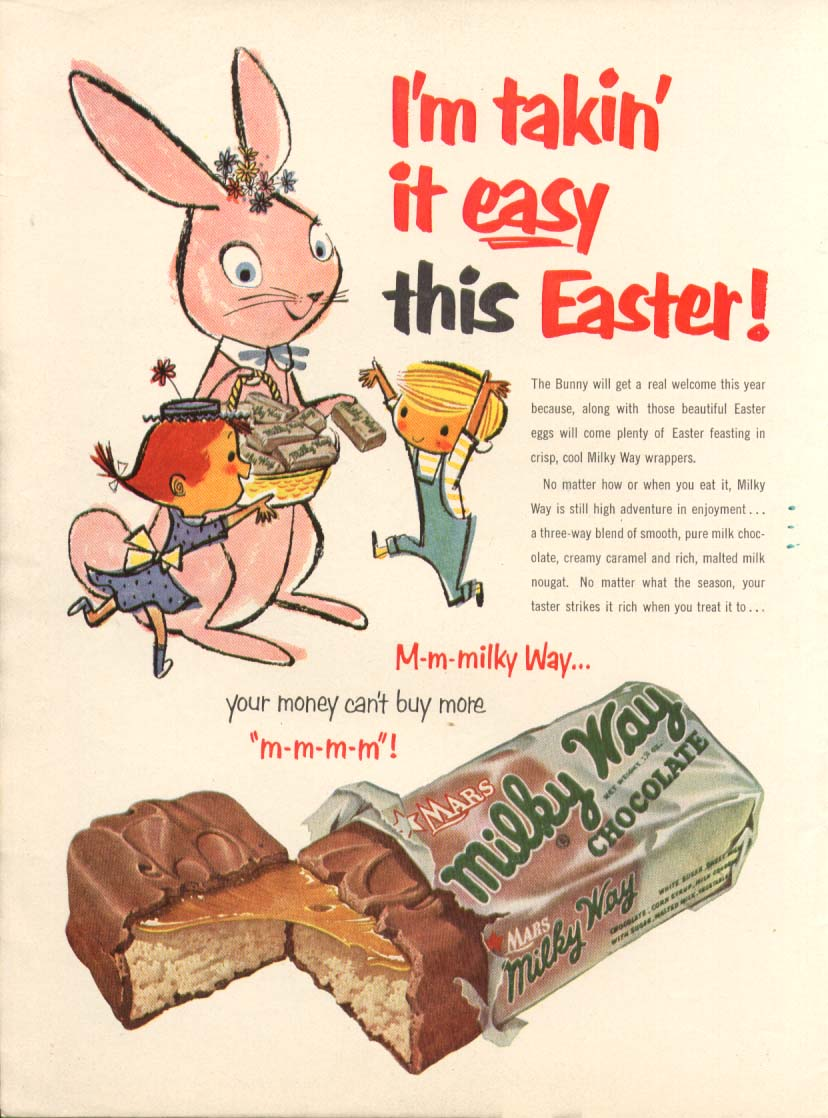 Image for I'm takin' it easy this Easter Milky Way Candy ad 1953