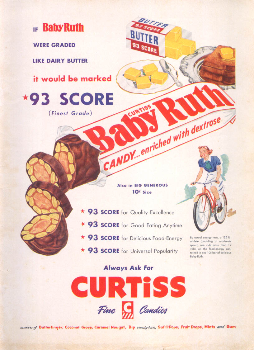 Image for Like 93 Score Dairy Butter: Baby Ruth Candy Bar ad 1954
