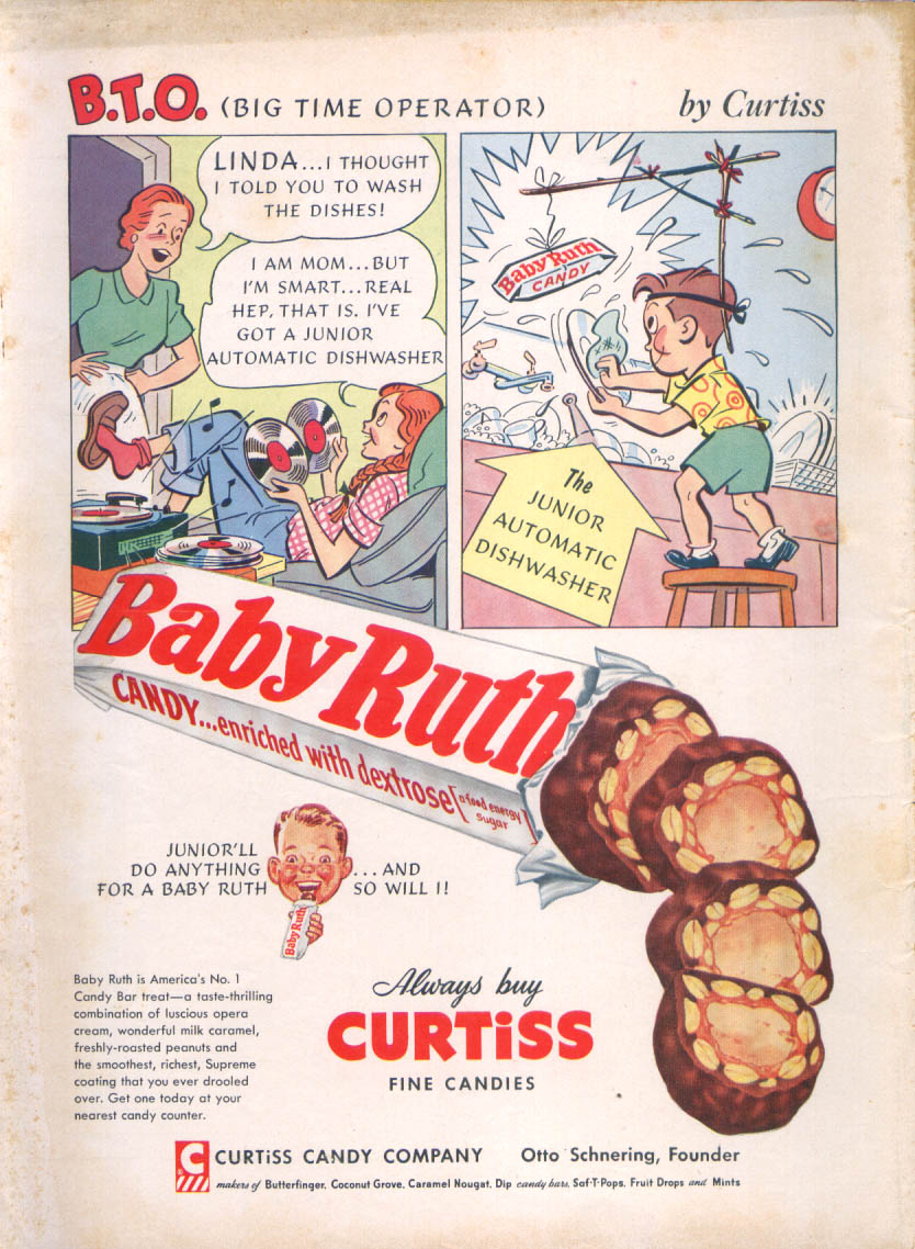 B.T.O Big Time Operator Baby Ruth Candy ad 1954