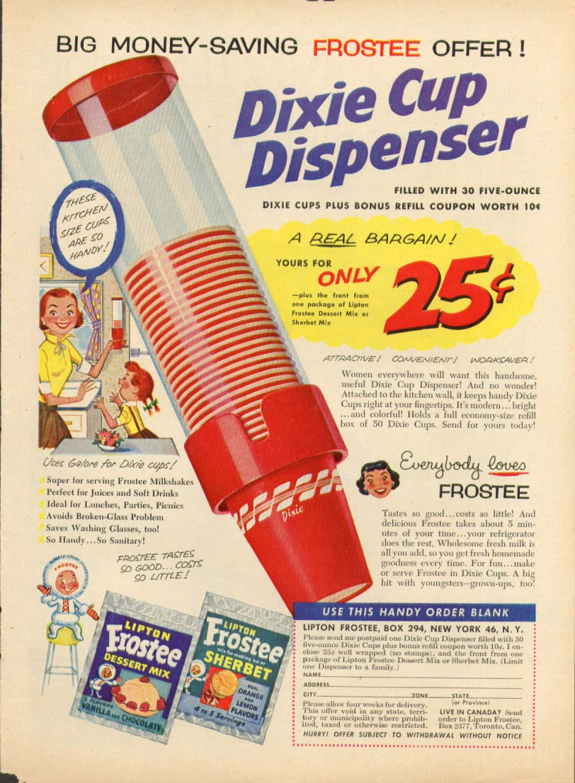 Image for Lipton Frostee Dixe Cup Dispenser 25c Offer ad 1954