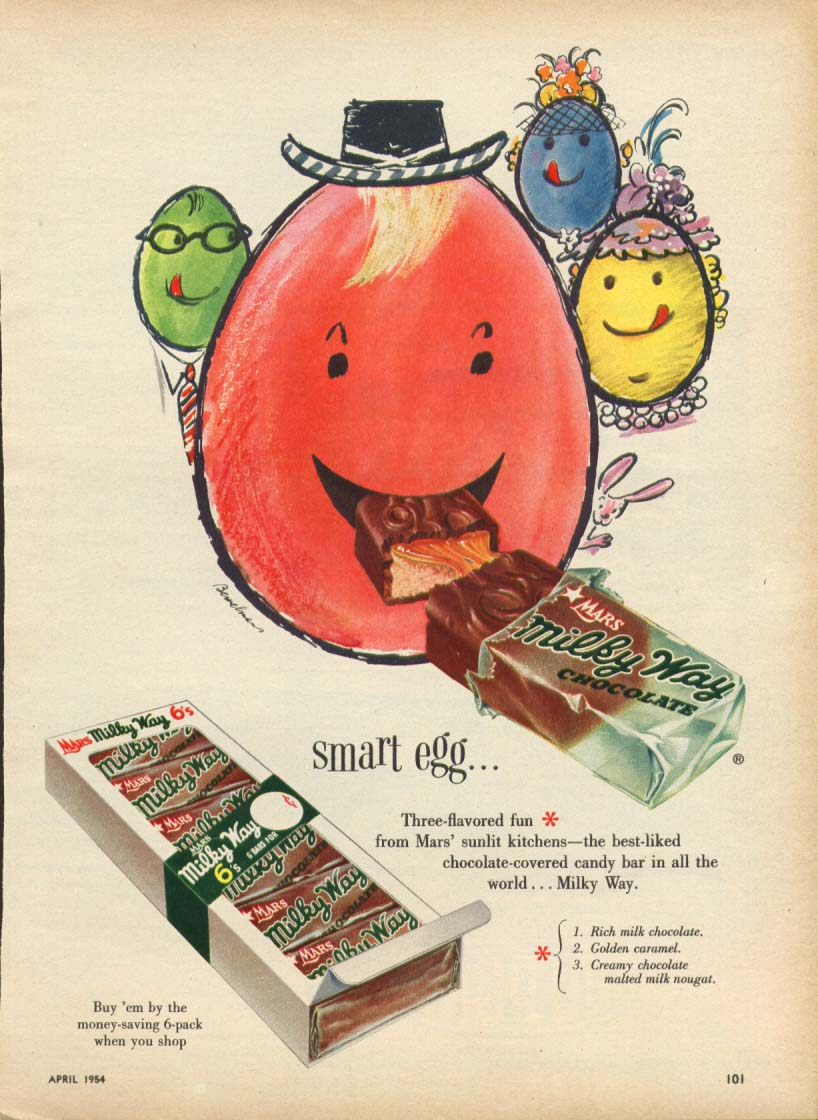 Image for Smart Egg Milky Way Candy Bar 6-pack ad 1954
