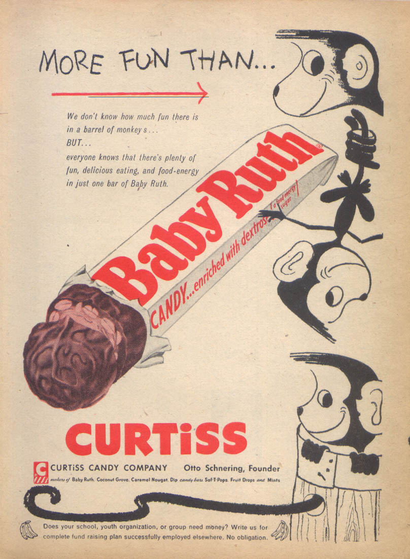 Image for More fun than monkeys Baby Ruth Candy ad 1955