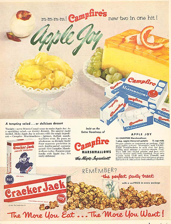 Image for Campfire Marshmallow Apple Joy Cracker Jack ad 1956