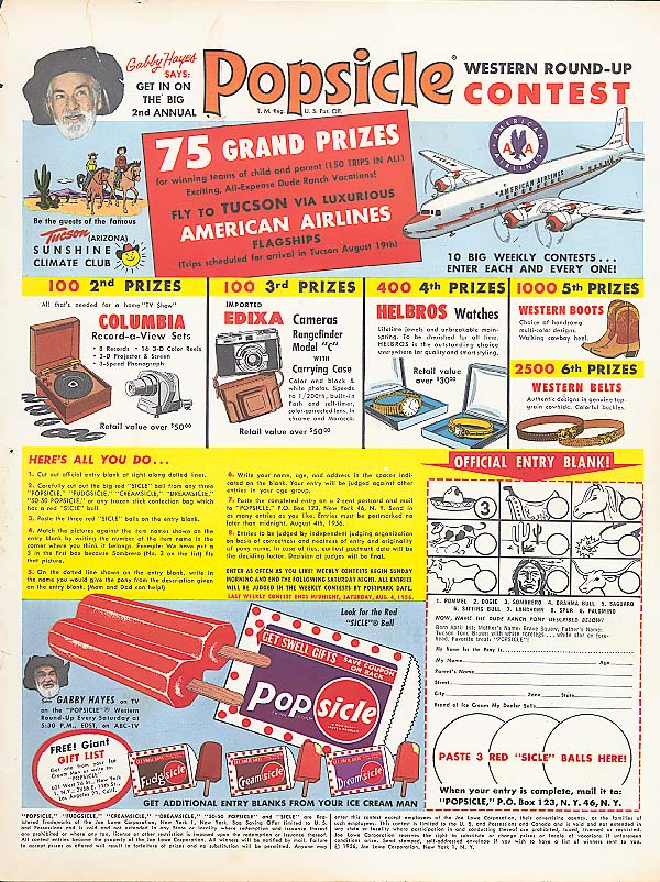 Image for Popsicle Western Round-Up Contest ad 1956 Gabby Hayes